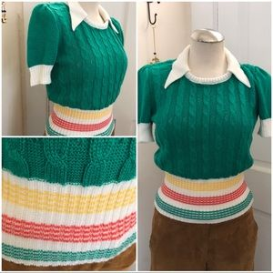 Vtg short sleeve fitted sweater wide collar